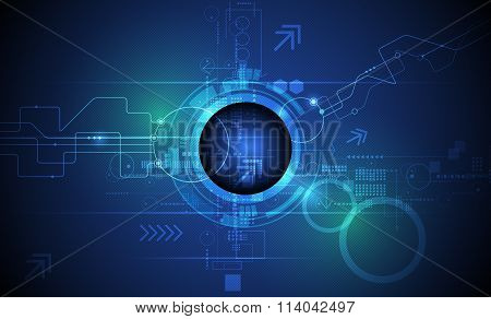 Abstract futuristic eyeball on circuit board Illustration high computer and Communication technology