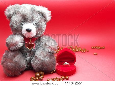 A valentine prop, black teddy bear with red heart on neck , chocolates on floor, and ring in box