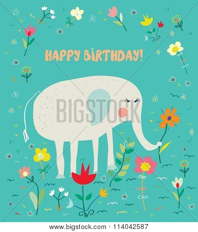 Birthday Card For Kids With Elephant And Flowers - Funny Design