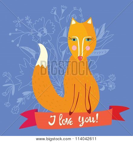 Love You Card With Fox And Flowers - Retro Design Illustration