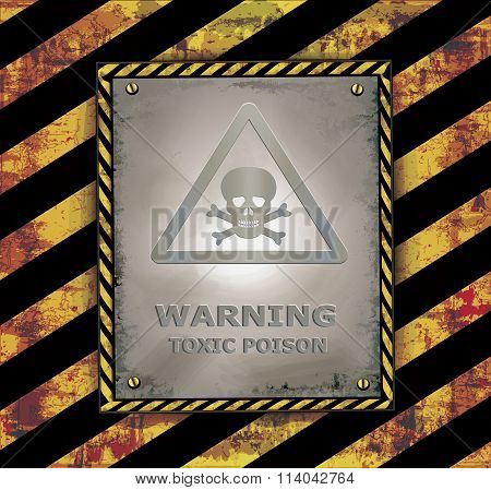 blackboard sign caution banner warning toxic poison vector