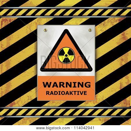 Sign caution blackboard warning radioactive vector