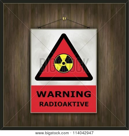 blackboard sign warning radioactive wood vector