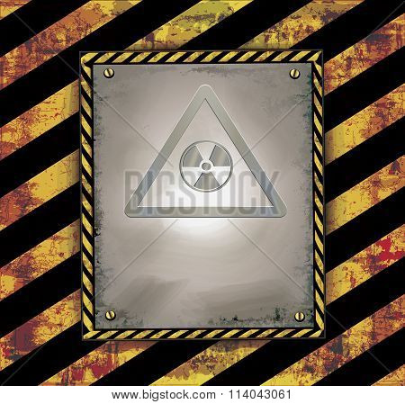 blackboard sign caution banner warning radioactive raster