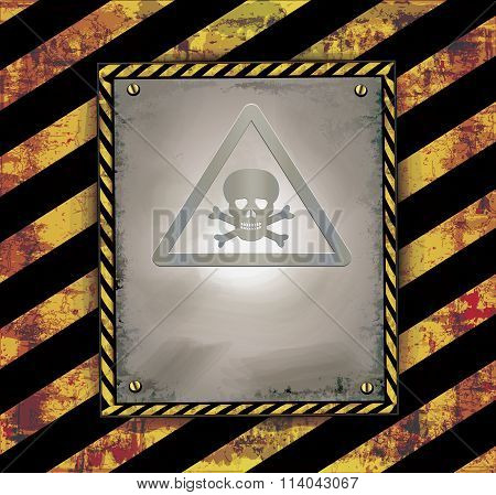 blackboard sign caution banner warning toxic poison raster
