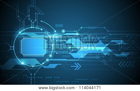 Abstract futuristic circuit board and cpu Illustration high computer and Communication technology