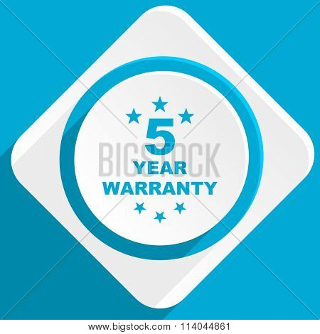 warranty guarantee 5 year blue flat design modern icon for web and mobile app