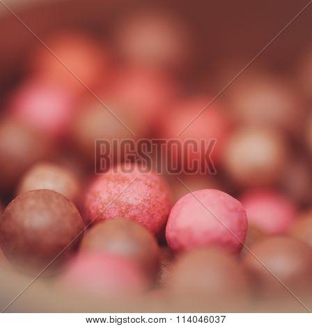 Blush balls close up