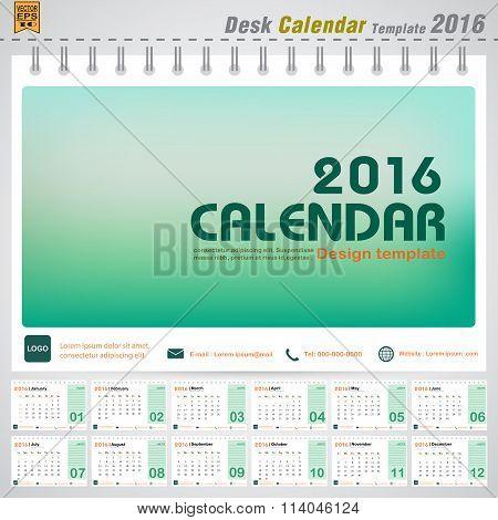 Desk Calendar 2016 Vector Modern Green Concept Design Cover Template For Office Planner
