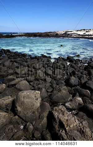 In Lanzarote Spain   Pond  Coastline And Summer
