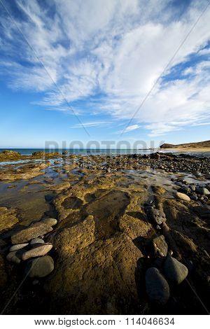 In Lanzarote Spain  Rock Stone Sky Cloud Beach