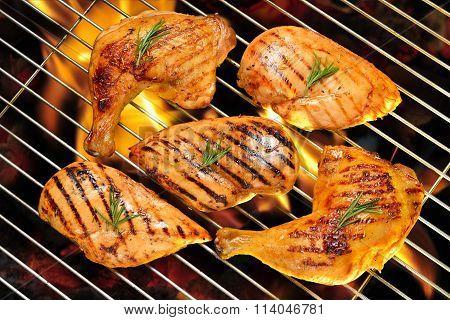 Grilled chicken breast and chicken thigh