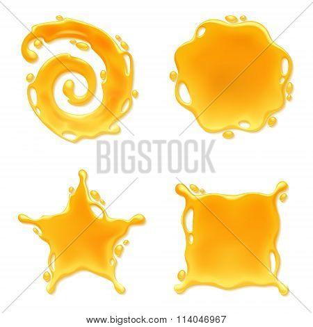 Yellow juice or honey blots set.
