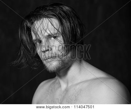 Sensual Black And White Portrait Of A Young Man