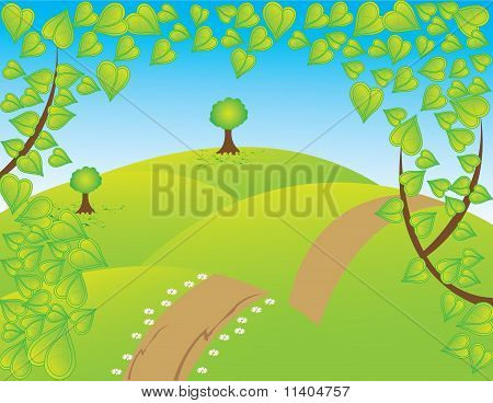 abstract nature landscape blue sky tree