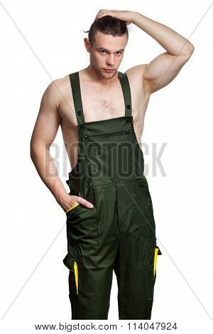 Caucasian Guy With A Naked Torso In Overalls