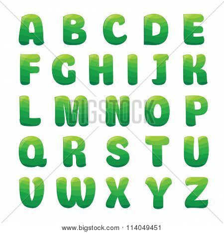 Alphabet with apple juice waves.