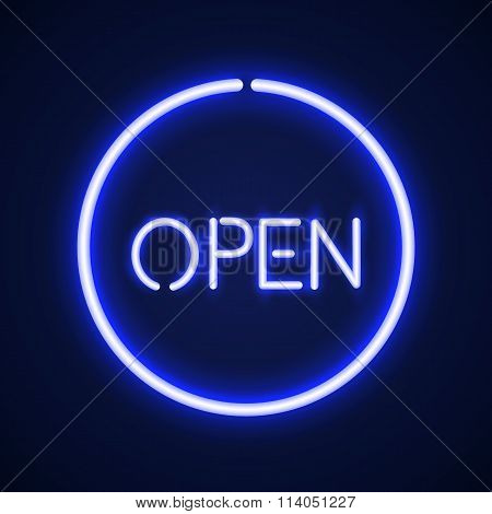 Open glowing neon sign.