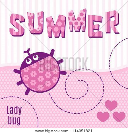 Card ladybug pink vector illustration