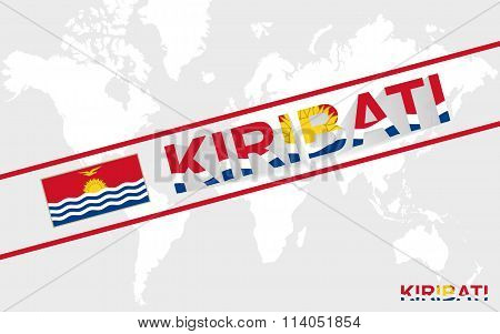 Kiribati Map Flag And Text Illustration