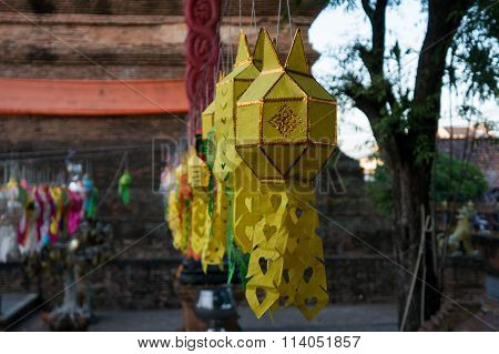 Lantern Decoration At Wat Lok Mo Li In Chiang Mai, Thailand