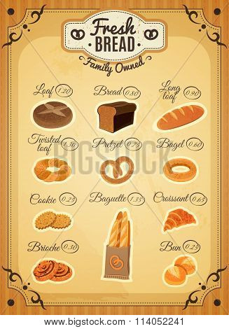 Vintage Style Bakery Price List Poster
