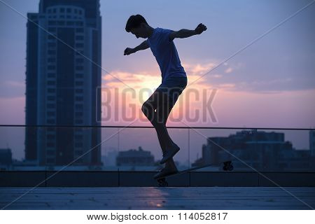 guy on a long board