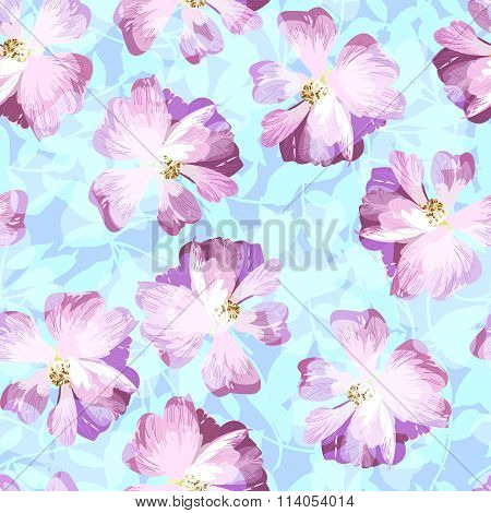 Seamless Pattern With Pastel Pink Roses