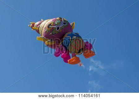 Thai Giant Hot Air Ballong Flies Into The Sky