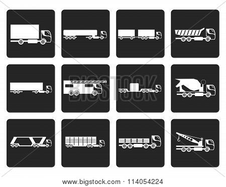 Black different types of trucks and lorries icons