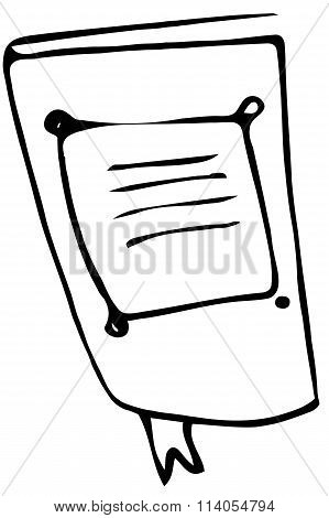 Ketch Of A Large Notebook With Ribbon Bookmarkbo