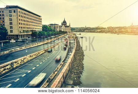 view on embankment and National Hungarian Parliament