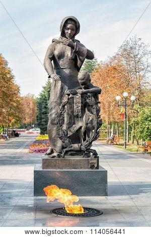 The sculptural composition grieving mother. Belgorod. Russia