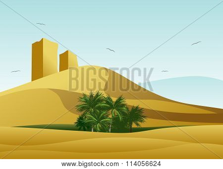 the desert and oasis with palm trees.
