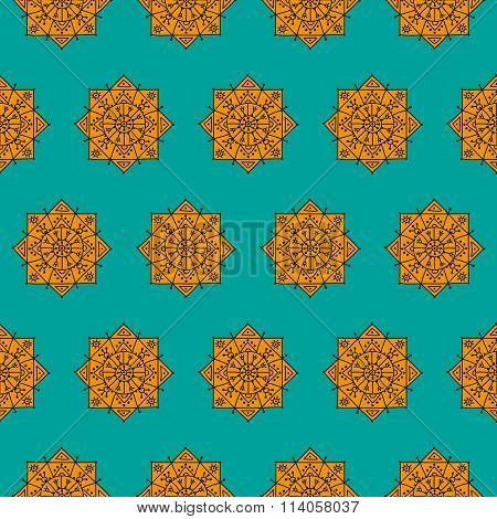 Bright seamless pattern with orange ethnic rosettes on a blue background