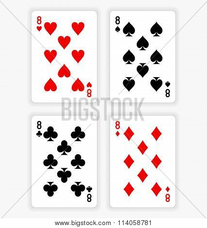 Playing Cards Showing Eights From Each Suit