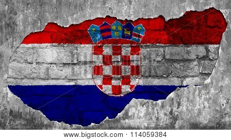 Flag of Croatia, Croatian flag painted on brick wall