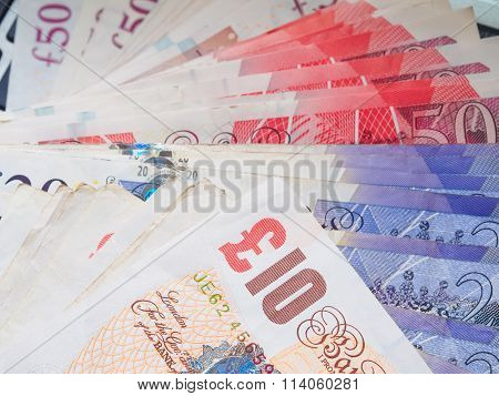 Spread Of Pound Money Close Up