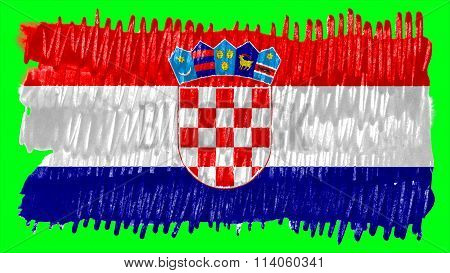 Flag of Croatia, Croatian flag painted with brush on solid background, paint texture
