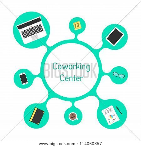 concept of coworking center with green bubble