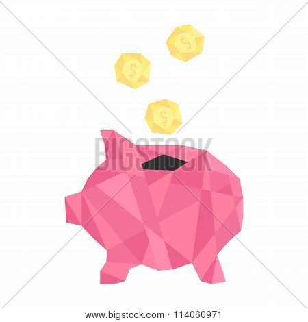 pink polygonal piggy bank with golden coin