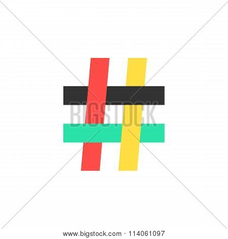 colored hashtag icon on white background