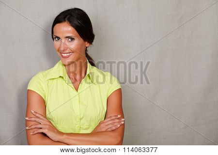 Smiling Confident Adult Lady With Arms Crossed
