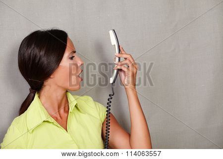 Long Hair Lady Holding Phone And Screaming