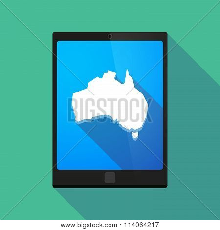 Long Shadow Tablet Pc Icon With  A Map Of Australia