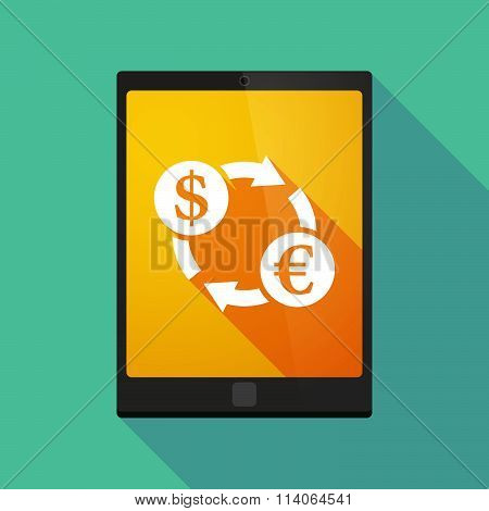 Long Shadow Tablet Pc Icon With A Dollar Euro Exchange Sign