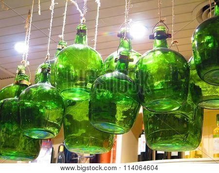 Strung Up Green Bottles