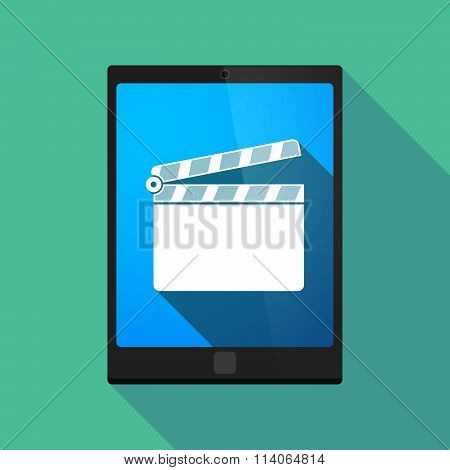 Long Shadow Tablet Pc Icon With A Clapperboard