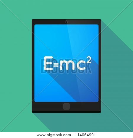 Long Shadow Tablet Pc Icon With The Theory Of Relativity Formula