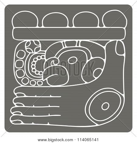 monochrome icon with glyphs of the Maya Night Lord